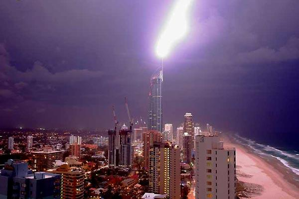 Surfers Paradise Q1 Tower Lightning Strike