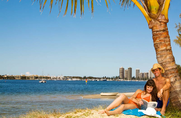 couple relaxing on the broadwater