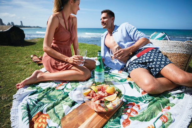Couple picnic near beach