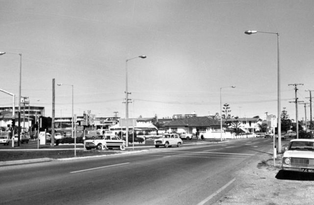 Gold Coast Highway and Ferny Avenue, circa 1969