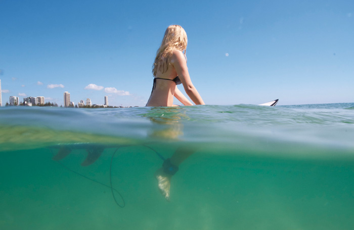 Surfer Girl half water