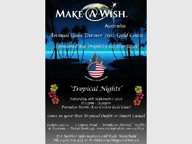 Gold Coast Branch of Make A Wish Tropical Nights Gala Dinner